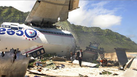 Crash de l'avion 815 au début de la série